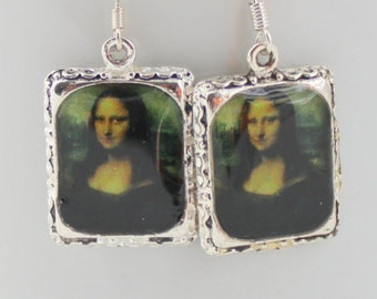 Mona Lisa Art Earrings Woman Picture Jewelry 3D Dimensional Leonard da Vinci