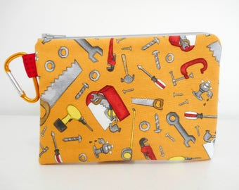 Tools Coin Purse, Gift for Him Clip Change Purse, Boy Zipper Pouch