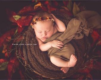 Fall Newborn Baby Flower Crown Headband, Fall Photo Prop, Fall Baby Floral Crown, Fall Infant Floral Halo, Fall Baby Photography Photo Props