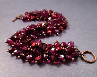 Cha Cha Bracelet, Red and Purple Glass Beaded, Copper Wire Wrapped Bracelet, FREE Shipping U.S.