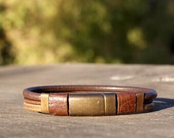 Mens leather bracelet, mens leather jewelry, magnet clasp bracelet , mens gift, gift for him for summer