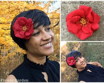 Red rose hair flower, open red rose, hair flower, red rose hair clip, barrette