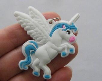 2 Unicorn pendants rubber A743