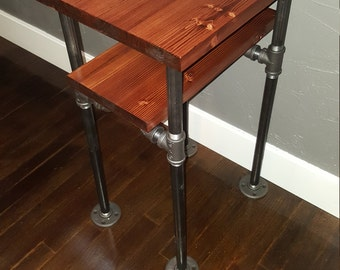 Industrial Pipe End Table, Bookmatched Ancon Edition
