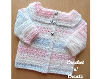Easy Peasy Cardigan Baby Crochet Pattern (DOWNLOAD) CNC30