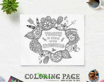 Printable Coloring Pages Instant Download Printable Quote