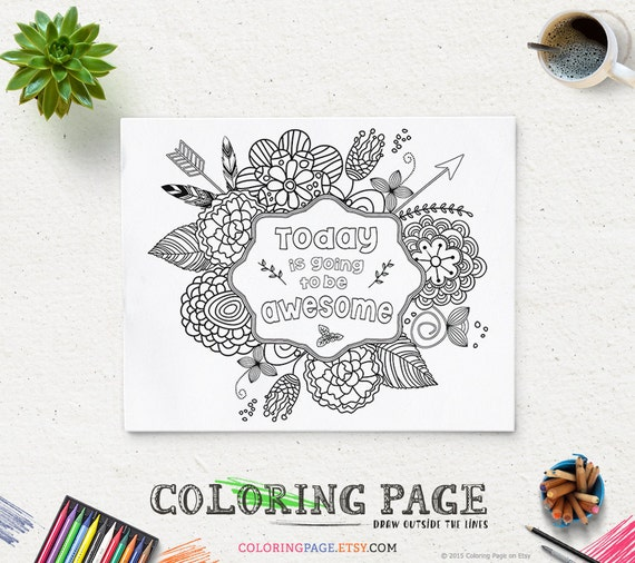 Coloring page printable verse today is going to be awesome