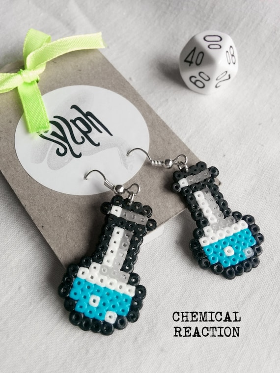 Beautiful nerdy Chemical Reaction earrings in turquoise, perfect gift for a biologist, chemist or labrat