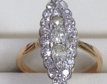 18kt yg diam 1ct tw marquis shape ring  Stunning   One of a kind!!
