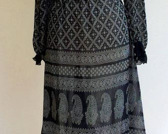 Dress sheer Indian Print
