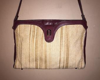 ETIENNE AIGNER VINTAGE Oxblood Leather/Straw Shoulder Bag 12 x 7.5 x 2