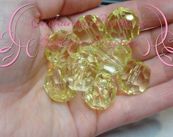 20mm Transparent Yellow Faceted Acrylic Beads Qty 10