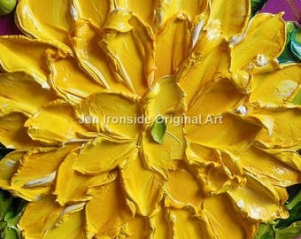 Impasto Oil Painting, Original Oil Painting, Yellow dahlia, canvas art, wall art, colorful art