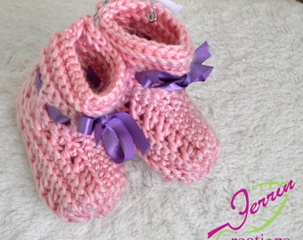 Pink baby booties with purple ribbon 6-9 month size