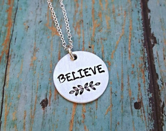 Believe Necklace - Believe - Believe Jewelry - Inspirational Jewelry - Word Necklace - Faith Necklace - Graduation Gift - Motivation Jewelry