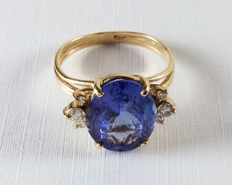 Art Deco, Tanzanite Ring with Diamonds, 6 Carats, 14K Gold, 1940s  Vintage Jewelry SALE