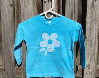 Flower Girls Shirt, Girls Flower Shirt, Light Blue Flower Shirt, Kids Flower Shirt, Turquoise Flower Shirt, Long Sleeve Kids Shirt (4T)