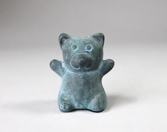 Vintage Metal Teddy Bear Paperweight Little Bear Figurine Verdigris