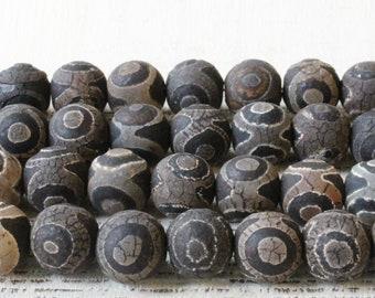 Round Tibetan Agate Beads - Dzi Beads - Jewelry Making Supply - Rustic Black and Gray Agate Gemstone Beads - 10mm, 12mm