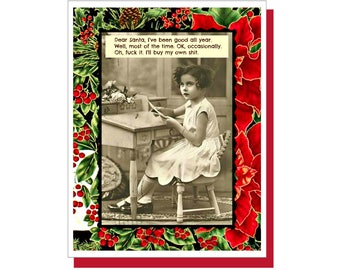 """Funny Christmas Card, """" I've Been Good All Year"""" Funny Holiday Card, Snarky Cards"""