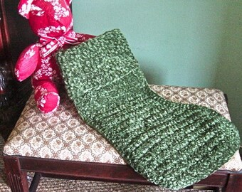 Christmas Stocking - Luxurious Hand Crochet Chenille