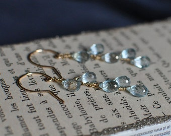 Sky Blue Topaz Cascading Earrings