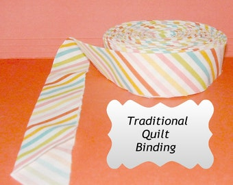 Traditional Quilt Binding - Multi-color Strip on White