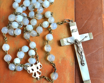 Vintage French Milk Opaline Rosary Beads and Mother of Pearl Cross Vintage Crucifix Art Nouveau