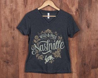 Wild & Free in Nashville - Ladies V-Neck Tee