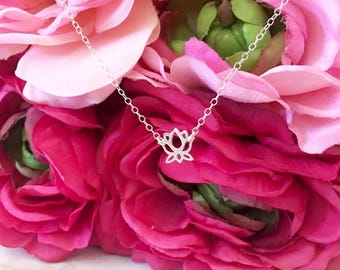 Dainty Sterling Silver Lotus Flower Necklace