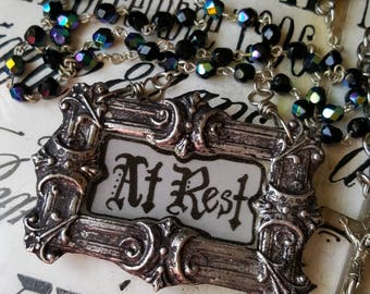Madonna Enchanted coffin plaque At Rest necklace mourning memento mori Victorian one of a kind funeral antique rosary goth gothic jewelry
