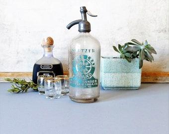 Vintage Seltzer Bottle, seltzer bottle, barware decor, Clover Leaf Brand seltzer bottle