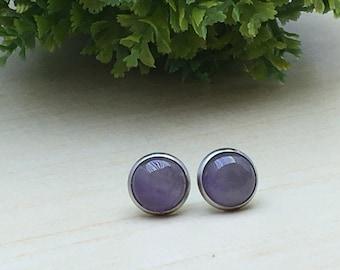 Amethyst Pale Earrings, Purple Stud Earring, Amethyst Stud Earrings, Gemstones Pale Gift, Inspiration Gift Stud, Woman Gift February Delicat