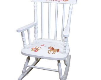Personalized Ponies Prancing White Childrens Rocking Chair My Little Li Lhorses Riding Stable Farm Horseback spin-whi-305