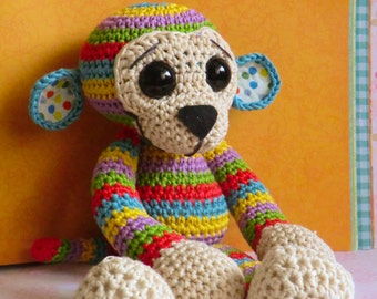 Colourful rainbow stripy monkey amigurumi PDF pattern