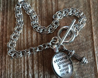 Crossfit jewelry, workout partner gift, Inspirational Bracelet, Strong dictionary word barbell weight charm bracelet