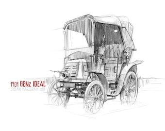 1901 Benz Ideal - Original A3 Pencil Sketch