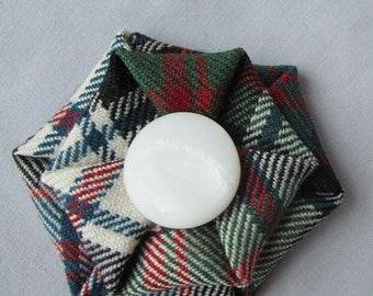 Scottish Clan MacDonald wool tartan brooch in dress, muted colours, Ready to ship, Scottish Clan pin
