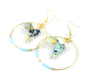 Miyuki Golden doves blue hoops and yellow Origami Japanese paper