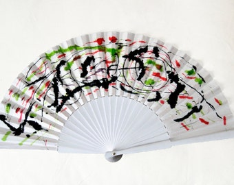 Spanish Fan-Hand painted fan-Unique Wedding fan-Wedding gift-Gifts for her-Exclusive fan-Fashion accessories-Limited Edition-White fan