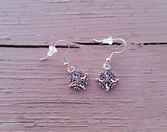 Pink Rhinestone Snowflake Charm Earrings - Winter Party Jewelry - Gifts for Her - Christmas Jewelry