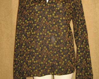 Mens Flocked Shirt Long Sleeve 60s 70s Vintage