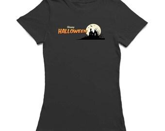 Happy Halloween Haunted House Women's Black T-shirt