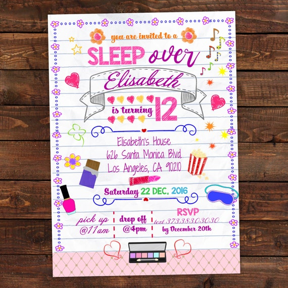 It is a photo of Gratifying Printable Slumber Party Invitations