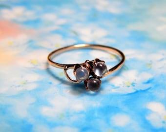 Victorian 10K Rose Gold Moonstone Ring - 10K Moonstone Ring - Vintage Victorian Moonstone Clover Ring - 10K Rose Gold Moonstone Orb Ring