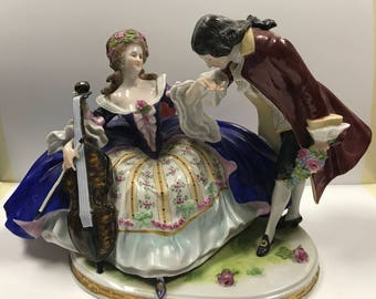 d198 Antique Mint Sheibe-Alsbach Porcelain Courting Couple with Cello Figurine