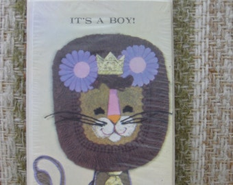 A Package of American Greetings Lion Baby Boy Announcement Cards