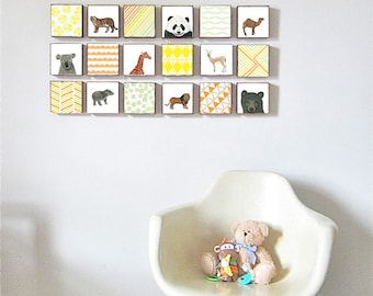 zoo animals nursery art, choose 18 5x5 art blocks, safari animals nursery art, animal prints, geometric prints, nursery decor, redtilestudio