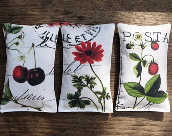 set of 3 organic french Lavender Sachet, Botanical garden , red flowers , cherry and strawberry