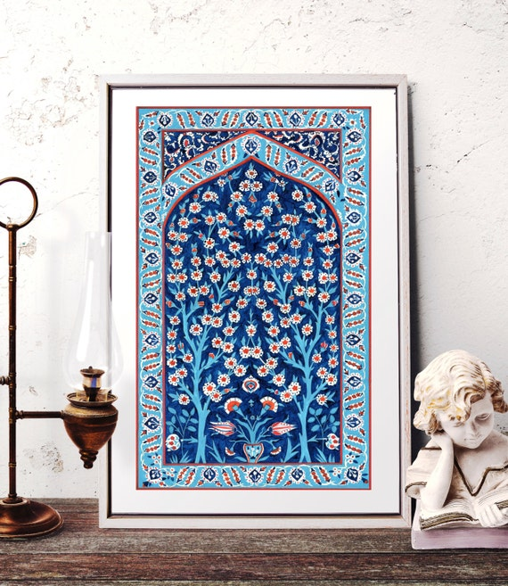 Traditional Ottoman Tulip Watercolor Wall Art Turkish Floral: Turkish Tile Tree Of Life Watercolor Painting Traditional